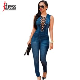 plus size sexy lace club jumpsuits UK - Idress Plus Size Summer Women Party Slim Jeans Combinaison Deep V Neck Lace Up Rompers Female Sexy Club Overalls Denim Jumpsuit Y19051501