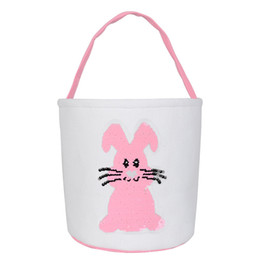 bucket handles wholesale NZ - 2020 New arrival fashion handle style canvas rabbit Easter bucket glitter sequin Easter basket sparking bunny ear bag