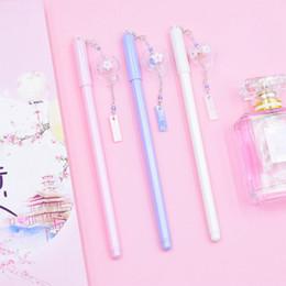 Discount wind pen - 0.5mm Black Ink Gel Pen Kawaii Wind Chimes Pendant Gel Pens For Girls Gift Writing Supplies Novelty Stationery Random Co