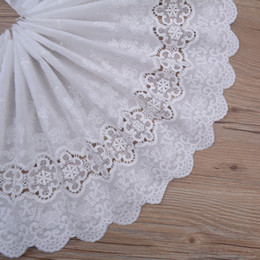 diy cotton lace NZ - Natural-white 100% Cotton Holow-out Embroidery Lace Fabric Handmade DIY Sewing Cloth Lace Trim Accessories Width28cm 3Yds lot