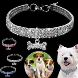 bones dog collar UK - Diamond Dog Necklace Jeweled Collars With Bone Pendant Rhinestone Crystal Bling Band Puppy Dog Pet Collars Collar Leather Tag