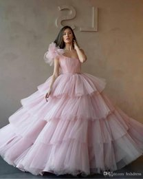 cupcake making NZ - New One Shoulder Ball Gowns Quinceanera Dresses Tulle Tiered Cupcake Formal Long Prom Dresses Sweet 16 Age Vestidos De Quinceanera prom