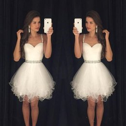 Discount green lilac dresses - 2019 New Arrival Vestido Formatura Curto Homecoming Dresses Sweetheart Beaded Straps Ruched Backless Short Little White