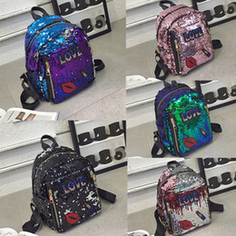 $enCountryForm.capitalKeyWord Australia - Five-Color Student Sequin Backpack Back To School Girl Sequins Letter Love Red Lips Lipstick Star Stripe Zipper Mini Lady School Bag