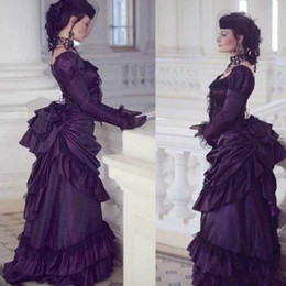 royal blue victorian ball dress Canada - 2020 Victorian Gothic Wedding Dresses Retro Royal House Ball Duchess Long Sleeves Vintage Bridal Gowns Country Wedding Dress