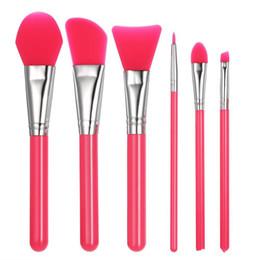 Masks setting online shopping - 6pcs Silicone Makeup Brushes Set Facial Mask Foundation Eyeshadow Eyebrow Brush Flectional Brush Head Cosmetic Make Up Brush Tools DHL Free