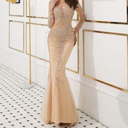 $enCountryForm.capitalKeyWord UK - Modern V-neck Long Sleeve Evening Gown Overall Major Beading Formal Dress Evening Dress Mermaid Illusion Back Champagne Prom Dresses