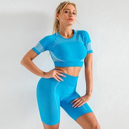 gym short Canada - 2 Piece Set Women Seamless Yoga Clothing Sport Fitness Suit Short Sleeve Running Training Leggings Sportswear Sexy Women Gym Set T200615