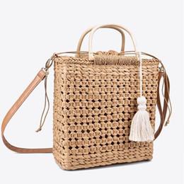 $enCountryForm.capitalKeyWord UK - 2 Hollow Fringed Woven Straw Wooden Handle Natural Color Shopping Woman Fashion Tassel Messenger Bag Handbag J190709
