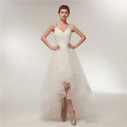 $enCountryForm.capitalKeyWord NZ - 2019 Simple Sling Wedding Dresses Uniform Pleated Thin Mesh Irregular Multi-layer Skirt Short Bride Dress New Size Adjustable