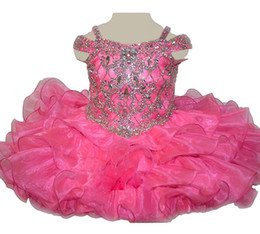 $enCountryForm.capitalKeyWord UK - Baby Girls Crystal Pageant Cupcake Dress Princess Infant Special Occasion Jewel Diamond Birthday Party Short Gowns