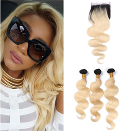 $enCountryForm.capitalKeyWord Australia - #1B 613 Ombre Malaysian Wavy Human Hair Weave Wefts with Closure Body Wave Ombre Blonde Human Hair 3Bundles with 4x4 Lace Front Closure