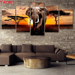 diamond 3d pictures NZ - 5 pcs Africa Elephants Animals 5D DIY Diamond Painting Full Square round Drill Multi-pictures Combination 3D Embroidery Mosaic
