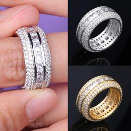 $enCountryForm.capitalKeyWord Australia - New Fashion 18K Gold & White Gold Blingbling CZ Cubic Zirconia Full Set Finger Band Ring Luxury Hip Hop Diamond Jewelry Ring for Men & Women