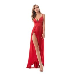 $enCountryForm.capitalKeyWord UK - Sexy Backless Split Front Summer Floor Length Dress Deep V Neck Party Dress Red Satin Sleeveless Padded Dress Y19041001