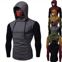 wholesalers for clothe stand NZ - Mens Hooded Sweater With Anti Dust Skull Mask Splice Color Long Sleeve T Shirt Man Sweatshirt Top For Spring Autumn Clothing Apparel