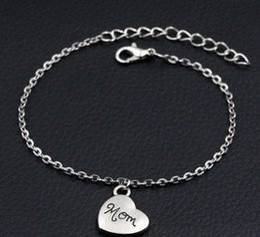 $enCountryForm.capitalKeyWord Australia - 2019 New Mom Heart Charms Bracelet Antique Silver Bracelet DIY Handmade Link Chain Bracelet For Women