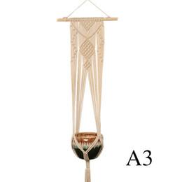 $enCountryForm.capitalKeyWord UK - Hot Sale Plants Hanger Basket Handmade Weave Flowerpot Decorate Suspension Net Wall Hanging Cotton Soft Feel Bohemia Fabric Popular