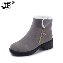 $enCountryForm.capitalKeyWord NZ - Winter Boots Women Low Heels Boots Plush Ankle Boots Zip Woman Faux Suede Booties designer shoes botas mujer ghn67
