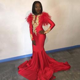 $enCountryForm.capitalKeyWord Australia - Long Red Prom Dresses 2019 Gorgeous Long Sleeves Mermaid Lace Applique African Black Girl Feather Women Graduation Dresses