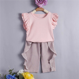 Wholesale Little Girl Tees Shirts Australia - New Stylish Little Girls Fly Ruffles Sleeve Tees Stripes Pants Suits 2pieces Blank Pink Tops Ruffled Striped Pants Set Kids Girls Clothing