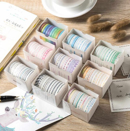 Wholesale 10pcs Creative Very Fine Colors Adhesive Tape Suit Stationery Colore Paper Tapes Hand Ledger Stickers 2016 Office & School Supplies HA522