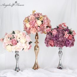 purple white backdrop NZ - Custom 35 45cm rose peony artificial flower ball centerpieces decor wedding backdrop table flower ball bouquet +vase candlestick Y200104