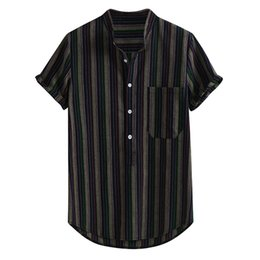 Wholesale clothing hawaii online – design Fashion Men s Casual Button Hawaii Striped Print Beach Short Sleeve Top High quality men s clothes