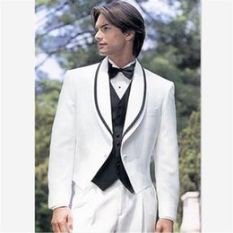 men s coat straight collar NZ - Stylish Small Collar Groomsmen men Suit For Wedding Fashionable Men's suits Prom Tuxedos White Masculino Ternos(Coat Pants Vest)