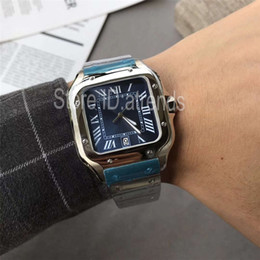 blue dial clock Australia - New Top Quality Series Fashion Quartz Watch Men Silver Blue Dial 40mm Classic Square Wristwatch Full Stainless Steel Casual Clock 1722