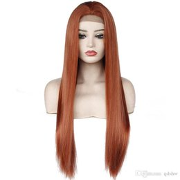 black red lace front wig UK - Middle Part Natrual Long Straight Orange Red Wig Heat Resistant Fiber Synthetic Lace Front Copper Red Wigs for Black Women