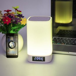 small plug night lamp NZ - Lucky2019 Wireless Bluetooth Loudspeaker Box Lamp Originality Touch Dimming Colorful Small Night-light Plug-in Card Time Alarm Clock