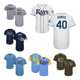 navy blue baseball jerseys UK - Men Women Youth Kids Rays Jerseys 40 Ramos Baseball Jerseys White Gray Grey Navy Blue Green Salute to Service Players Weekend All-Star