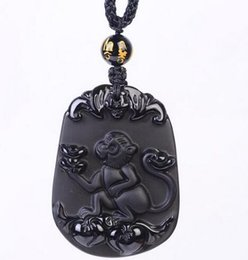 Carved Jade Red Pendants Australia - Fashion jewelry genuine natural black obsidian carved chinese lucky zodiac amulet pendant free necklace