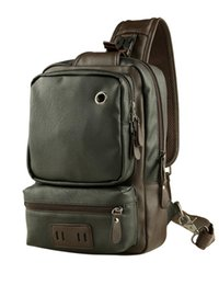 $enCountryForm.capitalKeyWord UK - Casual Men's PU Leather Multi Pockets Sling Chest Pack Bag Large space Single Shoulder Back Day Pack Travel