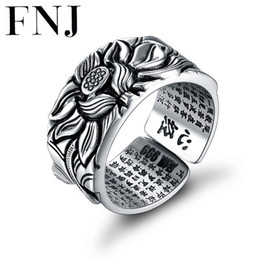 thai mans ring NZ - 925 Silver Lotus Rings Good Luck Buddha Adjustable Size Trendy Popular S925 Solid Thai Silver Ring For Women Men Jewelry T7190614
