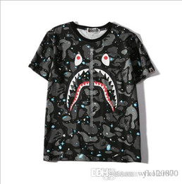 $enCountryForm.capitalKeyWord Australia - 001 tide brand fish head fake zipper luminous Star T-shirt cotton short-sleeved loose-collar hedging short-sleeved t-shirt