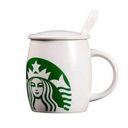 gifts starbucks Canada - starbucks cup Mug 420ml Classic Mermaid Pattern Coffee Cup With Lids And Stainless Steel Spoon Milk Tea Cups Novelty Gifts