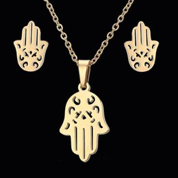 wholesale hamsa earrings Canada - Rinhoo Trendy Fatima Hamsa Hand Pendant Necklaces Earrings Sets Stainless Steel Mens Jewelry For Women Party Jewelry Set