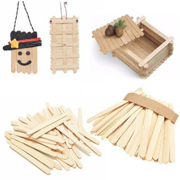 diy wood tools Australia - 50pcs lot Burlywood Ice-lolly Stick Natural Wooden Popsicle Ice Cream Sticks Kids Hand Craft Making Diy Ice Cream Tools