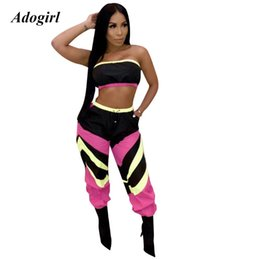 $enCountryForm.capitalKeyWord Australia - Adogirl Casual Color Block Patchwork Women Set Sexy Off Shoulder Crop Top With Pants Two Piece Set Night Club Party Suit Female