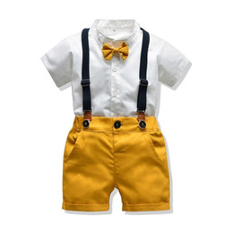 $enCountryForm.capitalKeyWord Australia - Baby Boys Clothing Sets Infants Newborn Boy Clothes Shorts Sleeve Tops+Overalls 2PCS Outfits Summer Bebes Outfits