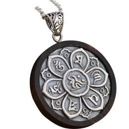 $enCountryForm.capitalKeyWord NZ - Real 925 Sterling Silver Sandalwood Mantra Pendant Six Words Carved Om Pendant Prayer Tibetan Buddhist Jewelry MX190730