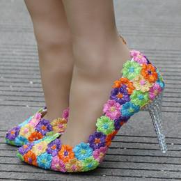 $enCountryForm.capitalKeyWord NZ - Crystal Queen Colorful Lace Flower Wedding Shoes Multicolor High Heel Banquet Pumps Handmade Cinderella Prom Party Woman Shoes