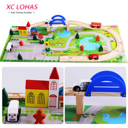 Toy Vehicle Build Australia - 40pcs  Set Diy Wooden City Train Track Building Blocks Toy Baby Assemble Traffic Diecasts & Toy Vehicles Toys Christmas Gifts