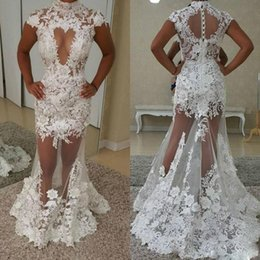$enCountryForm.capitalKeyWord NZ - White See Through Mermaid Prom Dresses High Collar Lace Appliques Keyhole Cocktail Dress Sweep Train Evening Party Skirts