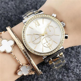 womens wrist band watches Australia - Luxwa16888 Stainless Steel Band Quartz Wrist Watch Wholesale Fashion Womens Girls Crystal Fake 3-eye Dials Style 36mm Womens Quartz Watches