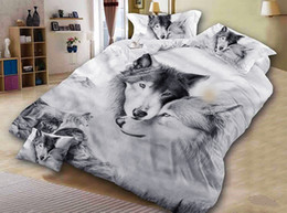 cool bedding Australia - Wolf Couples Bedding Kids Bedding Cool Grey Wolf Duvet Cover Set 3 Pcs 3D Painting Duvet Cover Creative Print B1