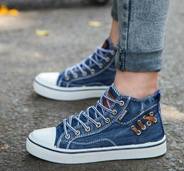 $enCountryForm.capitalKeyWord Australia - Water-washed denim high-top canvas shoes for male summer students Korean fashion black shoes casual shoes WL611