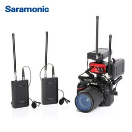 Dslr Camera Microphone Australia - Saramonic Wireless VHF Lavalier Microphone Bundle with 2 Transmitters 2 Receivers 1 2-Channel Audio Mixer for DSLR Canon Camera